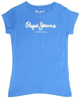 Pepe Jeans Girl Cotton Printed T shirt - Blue