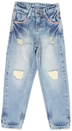 Pepe Jeans Girls Blue Solid Jeans