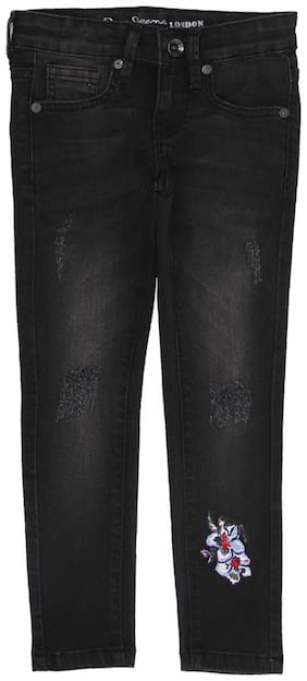 Pepe Jeans Girls Solid Used Black Jeans