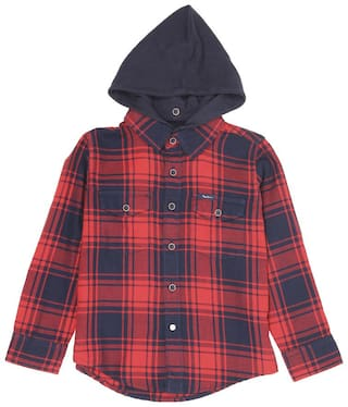 Pepe Jeans Boy Cotton blend Checked Shirt Red