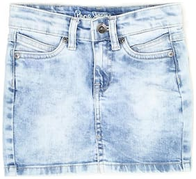 Pepe Jeans Girl Denim Solid Straight skirt - Blue