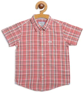 Pepe Jeans Boy Cotton Checked Shirt Pink