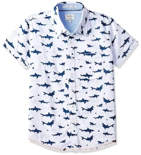 Pepe Jeans Boy Cotton Printed Shirt Blue & White