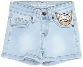 Pepe Jeans Girl Denim Solid Denim shorts - Blue