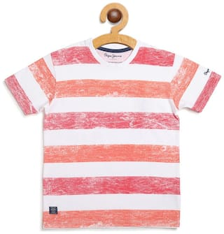 Pepe Jeans Boy Cotton Striped T-shirt - Red
