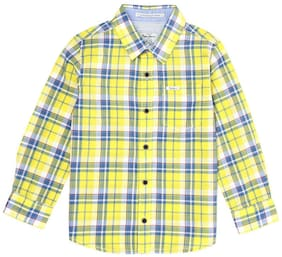Pepe Jeans Boy Cotton Checked Shirt Yellow
