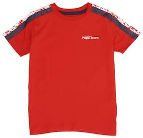 Pepe Jeans Boy Cotton blend Solid T-shirt - Red