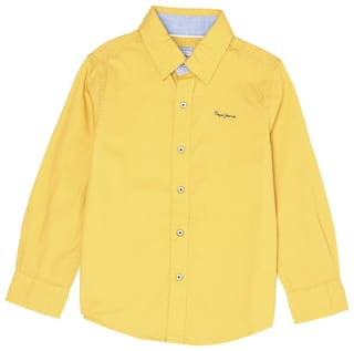 Pepe Jeans Boy Cotton blend Solid Shirt Yellow