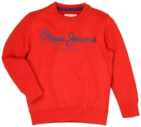Pepe Jeans Boy Cotton Printed Sweatshirt - Red