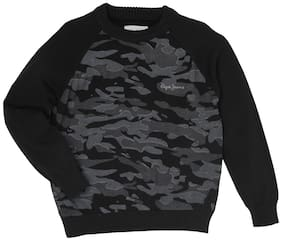 Pepe Jeans Boy Cotton Printed Sweater - Black