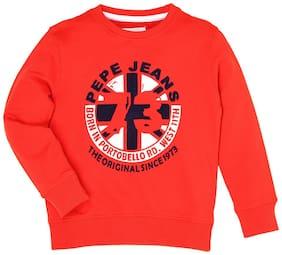 Pepe Jeans Boy Cotton Printed Sweatshirt - Red