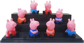 Peppa Pig Set Of 8 pcs. Daddy Pig, Mummy Pig, Peppa Pig, George Pig Pencil Topper Pencil Extender Action Figure