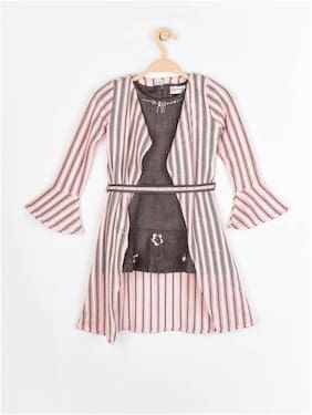 Grey;Pink Frock With Jacket