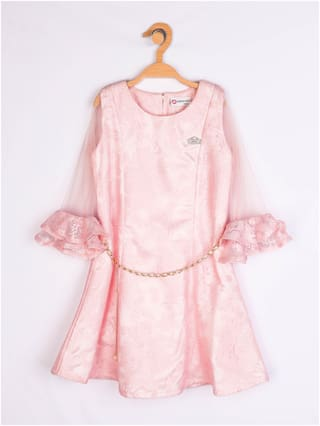 Peppermint Girls 3/4th Sleeves Knee Length Dress