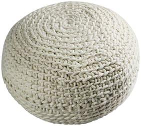 PEQURA  Cotton Hand Knitted Bean Round Pouf