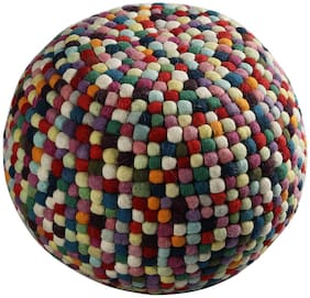 PEQURA Cotton Hand Knitted Round Bean Pouf