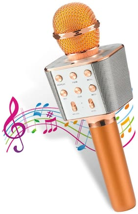 Pick Ur Needs  Karaoke Duplex Bluetooth Mic Wireless Bluetooth Microphone Connection Player Speaker 2-in-1 with Recording + USB + FM Microphone Karaoke Mic (Color-Copper)