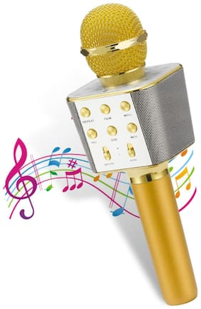 Pick Ur Needs  Karaoke Duplex Bluetooth Mic Wireless Bluetooth Microphone Connection Player Speaker 2-in-1 with Recording + USB + FM Microphone Karaoke Mic (Color-Golden)