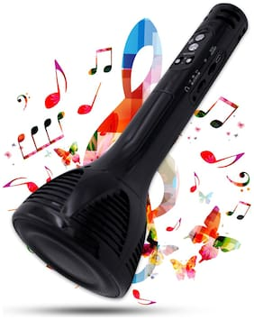 Pick Ur Needs Karaoke Mic Wireless Bluetooth Microphone Connection Player Speaker 2-in1 with Recording + USB+FM (Black)