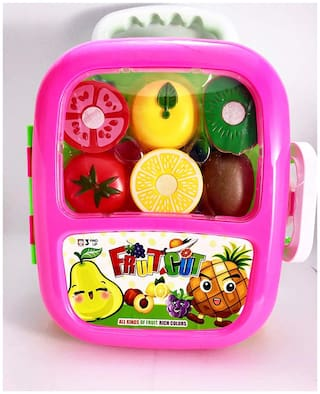 Piggie Fruit Cut Trolly for Kids, Kids Pretending Role Playing Toy