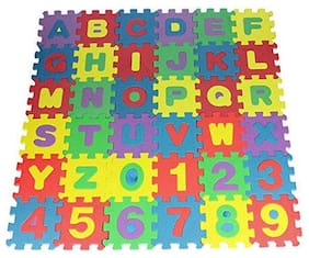 Pikaboo Attractive Multicolour Alphabets & Numbers Floor Mat For Kids With Jigsaw Puzzle Design 36 Pcs Set