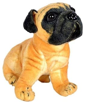 Pikaboo Cute Friendly Pug Dog Toy Stuffed With Fluffy Stuffing & Real Life Colours