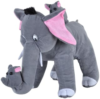 Pikaboo Cute Mamma Elephant With Her 2 Babies Stuffed Toy Adorable With Soft Plushy Filling