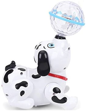 Pikaboo Dancing Dalmatian Dog Toy With 3D Multicolor Light Crystal