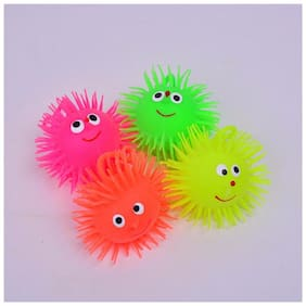 Pikaboo Fidget Toy Puffer Ball Tension Reliever Toy With Cute Smiley Face & Flashy Lights (Assorted)
