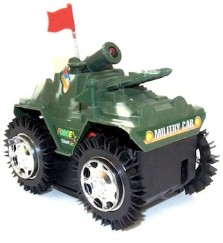 Pikaboo Indian Military Force Tank Replica High Speed Vehicle Tank Toys, 10 cm (Green, Small)