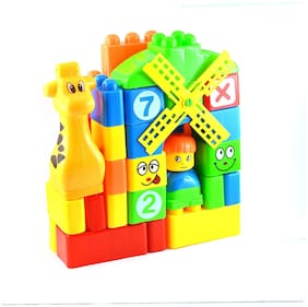 Pikaboo Learning Blocks For Kids Building Blocks With Bag Packing, Cartoon Characters (40 pcs,Multicolour)