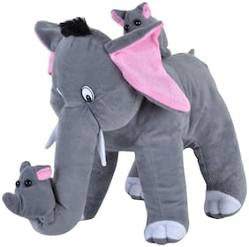 Pikaboo Mother Elephant Stuffed Toy Mamma Elephant With 2 Babies Cute Stuffed Toy For Kids
