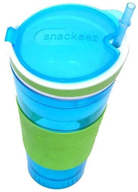 Pikaboo Snackeez Snack & Water Bottle 2 in 1 Travel Friendly Spill Proof Design - Multicolor (200 ml)
