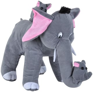 Pikaboo Stuffed Elephant Toy Mother Elephant &  2 Babies Huggable Soft Fluffy Toy