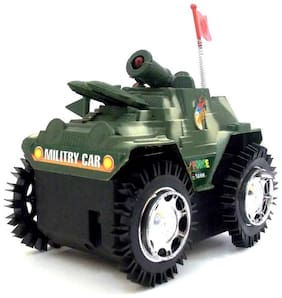 Pikaboo Tumbling Tank Military Tank Model With Flashing  LED Lights (Green, Small)