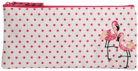 Pinaken Flamingo Blush Embroidered & Embellished Multicolor Pencil Pouch