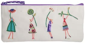 Pinaken The Glee Girls Embroidered & Embellished Multicolor Pencil Pouch