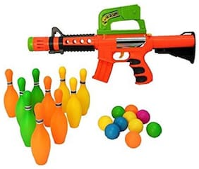 Ping Pong Gun with 10 pcs Bowling and10 pcs Ping Pong Game Set for Kids/Children (multicolour)