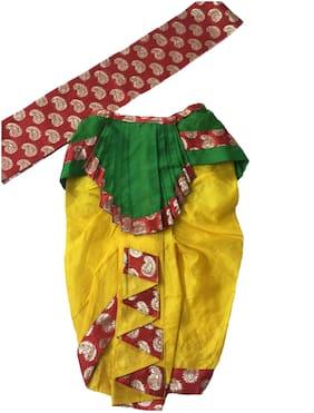 PINK APRICOT Krishna Dress Costume Dhoti with dupatta for Kids