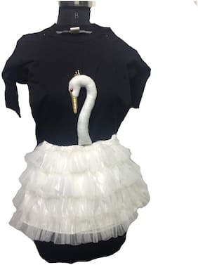 Pink apricot Swan bird party stage costume frock dress