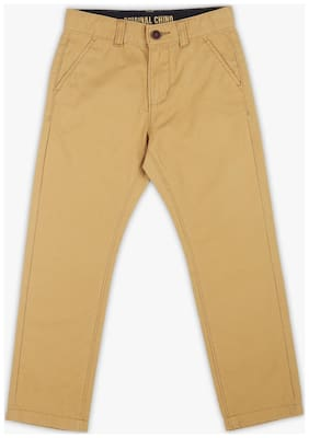 Pink & Blue Boys Brown Solid Tapered Fit Trousers