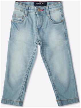 Pink & Blue Boy Solid Regular Cotton Denim (Blue)