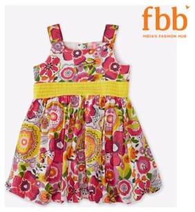 Pink & Blue Floral Girls Multicolor Dress