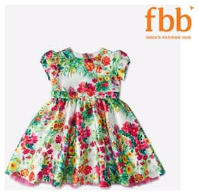 Pink & Blue Floral Girls Multicolor Dress