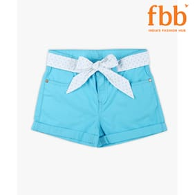 Pink & Blue Girl Cotton Solid Regular Shorts - Blue
