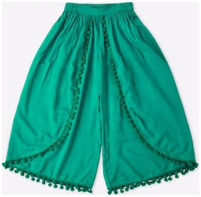 Pink & Blue Girl Cotton Trousers - Green