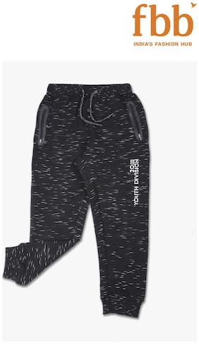 Pink & Blue Boy Poly cotton Track pants - Black