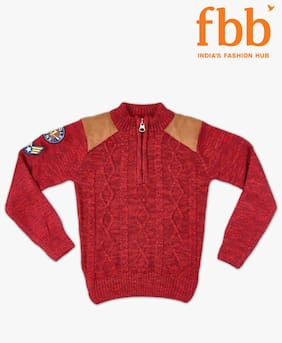 Pink & Blue Boy Acrylic Solid Sweater - Red