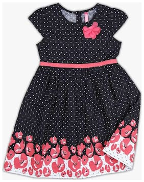 Pink & Blue Polka Dot Frock with Floral Applique