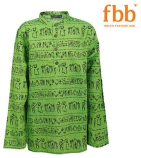 Pink & Blue Boy Cotton Printed Kurta - Green